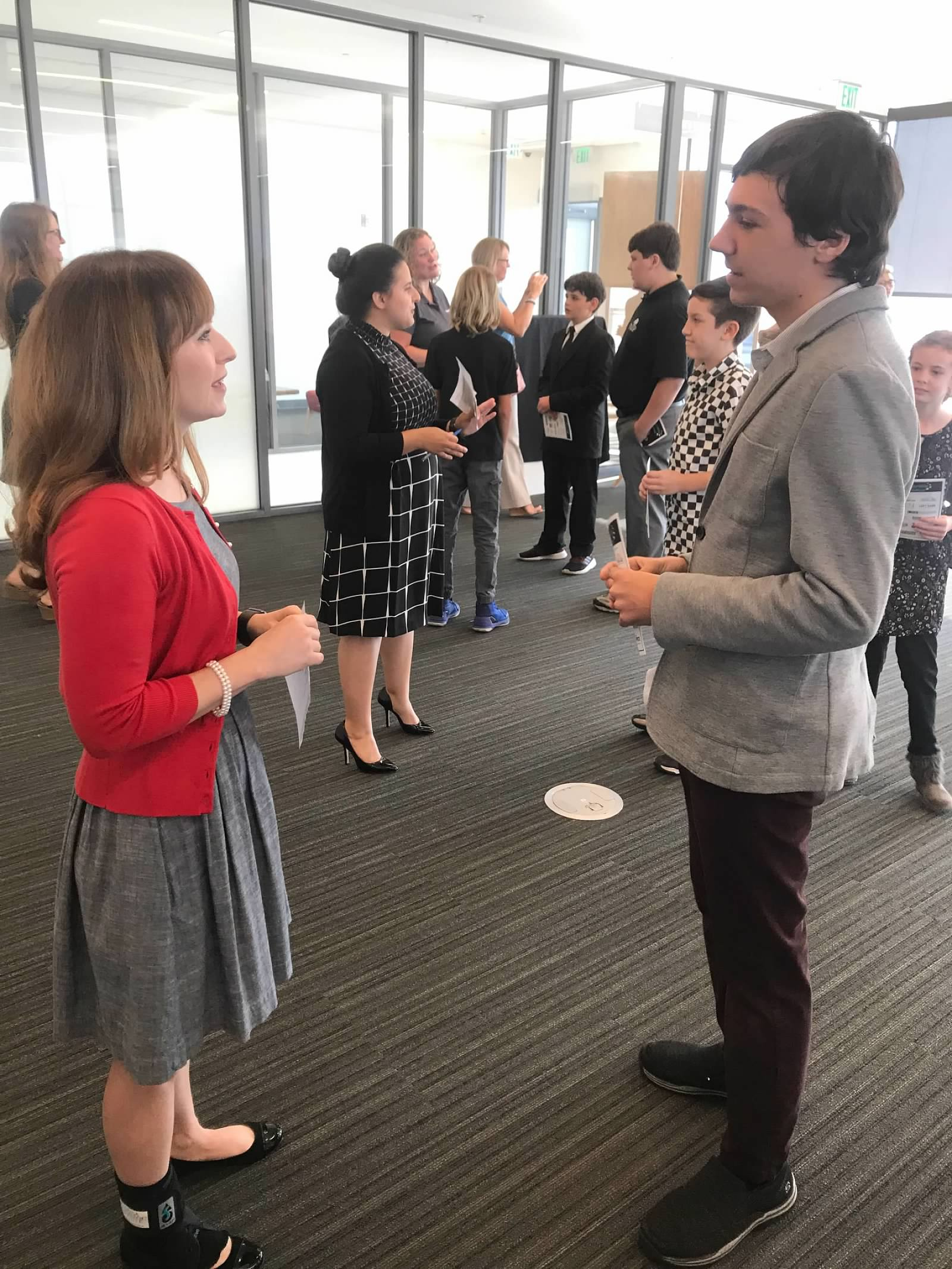 Students practicing networking skills